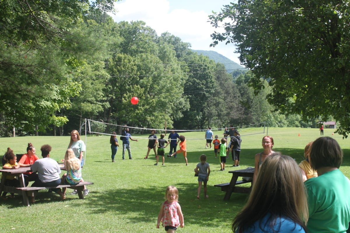 Children playing volleyball at the Back To School Bash