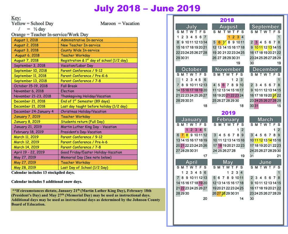 Johnson County Schools 2018-2019 Calendar